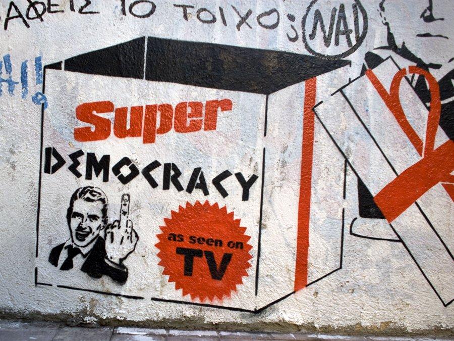 athens-graffiti_super-democracy-as-seen-on-tv