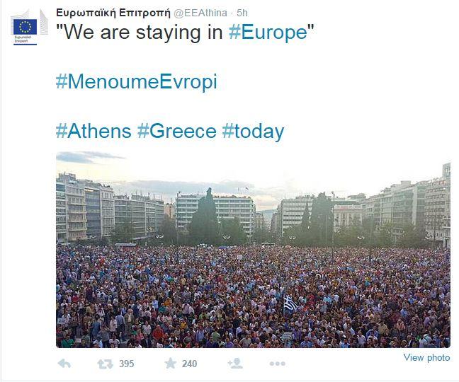 La répresentation de la Commission europeene a retransmis sur Twitter une photo de la manifestation accompagnée d'un commentaire enthusiaste