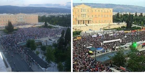 Deux maniféstations en deux jours à Syntagma. A droite contre l'austérité, à gauche contre le gouvernement.